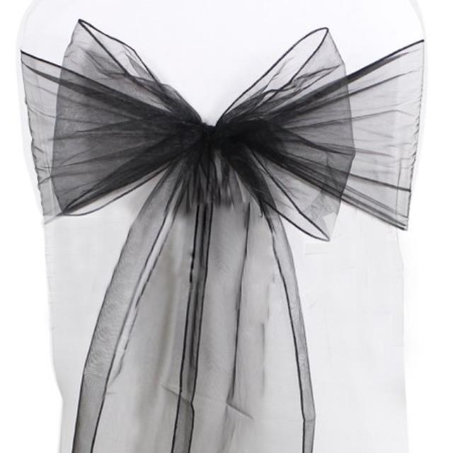 Where to find CHAIR TIE, BLACK ORGANZA in Tulsa