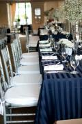 Rental store for TABLECLOTH, 90 X 132 NAVY POLY STRIPE in Tulsa OK