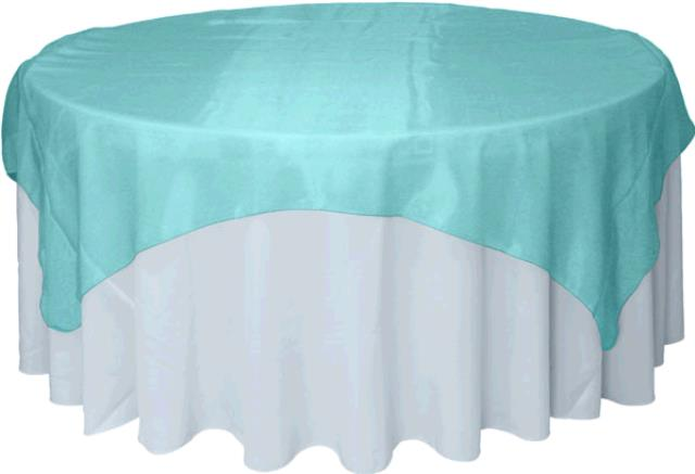 Where to find TABLECLOTH, 72 X 72 AQUA ORGANZA in Tulsa